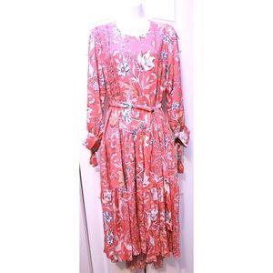 Jaase Dresses - Jaase Birdsnest Floral Print Dove Dress Midi Dress